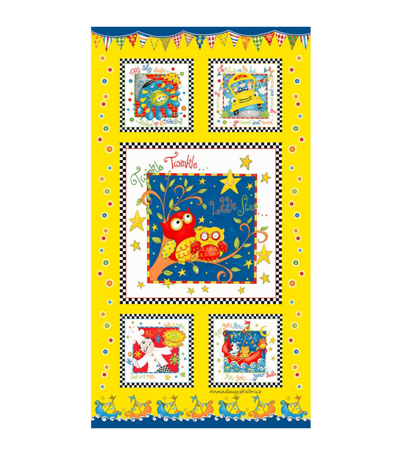 Nursery rhyme baby quilt fabric panel rhyme time 6155p for Nursery fabric sale