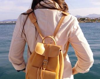 Handmade Leather Backpack, Leather one pocket Rucksack, Leather Satchel, travel bag, Natural Color, MEDIUM