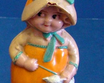 "1920s Celluloid 3 1/2"" Little Bo Peep with Lamb Girl"