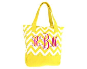 Monogrammed Bridesmaid Gift Tote Bags Set of 6