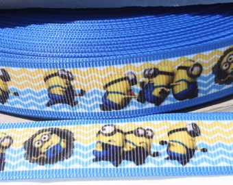 Yellow Character Ribbon 7/8 Inch Grosgrain Ribbon by the Yard for Hairbows, Scrapbooking, and More!!