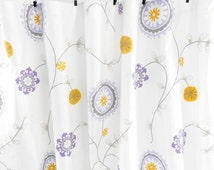 Wisteria and white Curtain. 2 panel curtain. Wisteria  Twill Window Treatment.set of two.cotton.unlined.Designers pattern.Choose  your size
