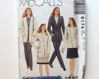 McCall's Misses' Suit Sewing Pattern #6174 - Easy Non-Stop Wardrobe  - UNCUT and Factory Folded - Size 12+14+16