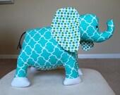 Elephant Plush - Stuffed Elephant Toy - Stuffed Animal Toy - Teal Elephant Companion - Elephant Plushie - Elephant Nursery Safari Theme