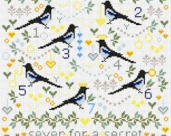 CROSS STITCH KIT Magpies Sampler by Riverdrift House