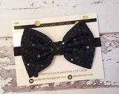 Black Shinny Bow Clip or headband, black baby bow, black bow, black hair clip, new years bow
