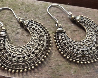 Brass Tribal Earrings With Handmade Hypoallergenic Titanium Ear Wires - Gypsy - Ethnic - Boho - Hippy - Tribal Hoops