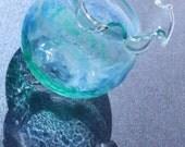 Blue Ocean Art Glass・Seascape Glass Painting・Blue Waves・Decorative Art Decor・Nature Inspired Glass Art・Mini Fish Tank・Miniature Art Glass