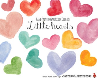 "Clip art: ""LITTLE HEARTS""  handpainted in various colors, 50 clipart 300 dpi PNG  files (5115)"