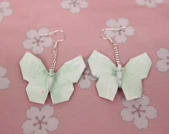 Green Bamboo Butterfly Origami Earrings