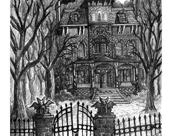 Haunted House art print by Colin Richards (7.5x9.5 inch Digital Print on 8.5x11 cardstock, unframed) Spooky Creepy Eerie Halloween Print