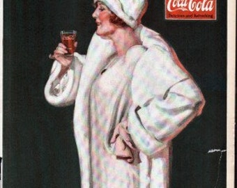 Original Saturday Evening Post ad circa 1920s for Coca Cola, coke, bottom of ad is trimmed off to 11 1/2 inches - PD000520