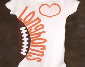 Personalized Heart OR Bow Tie Texas Longhorns Team Football Onesie
