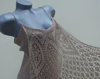 Beige knit tank top, Brown openwork crochet blouse, Sleeveless lace shirt, Big collar blouse, Sleeveless blouse