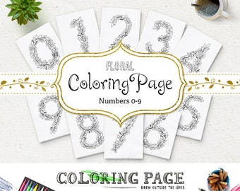 SALE Floral Numbers Coloring Page Adult Coloring Printable Number Coloring Art Printable Coloring Pages Printable Digital Coloring Download