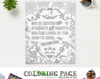 Bible Verse Coloring Page She Is Clothed Printable Proverbs 3125 Instant Download Pages