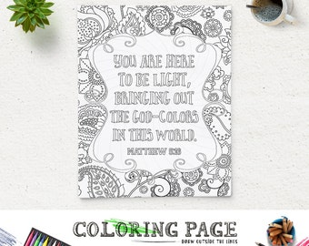 bible verse printable coloring page matthew 516 instant download coloring pages printable bible quote - Christian Coloring Pages For Adults