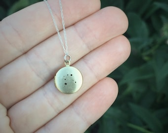 Gemini constellation locket necklace | small brass locket |  zodiac sign | silver chain | personalized inscription custom hand stamped