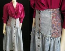"""Vintage 80s High Waist SKIRT ACID Wash Cotton Fitted Cummerbund Detail Brocade Button Front  SMALL Waist:26"""""""
