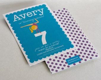 Gymnastics Girl Birthday Party Invitation-FREE SHIPPING or DIY printable