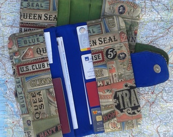 Travel wallet for men with Cigarbox print - READY TO SHIP