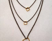 Boho, Geometric, Diamond Shaped, Square, Cube, Gold Brass, Multi chains, Layered, Tassel, Trendy, Modern, Contemporary, layering necklace