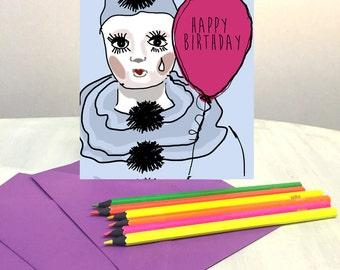 Birthday Card, funny birthday card, greeting card, funny card, Happy Birthday card, Pierrot clown, friend birthday card, best friend card