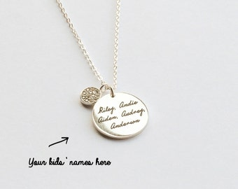 Personalized Message Necklace with Diamond BUTTON Charm - Sterling Silver - Mother's Gift - Mother Necklace - JN28
