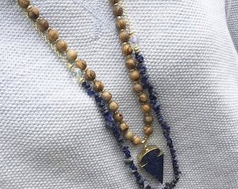 The Rebecca - beaded navy chips necklace