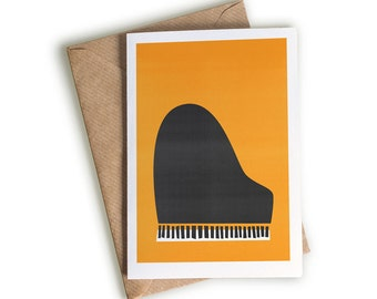 Piano Card, Pianist Gift, Grand Piano Note Card, Piano Recital, Jazz Piano Band, Keyboard Player, Mid Century Art, Illustration Mid Century