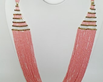 Pink Multi Strand Beaded Necklace / Pink and Gold Beaded Necklace.