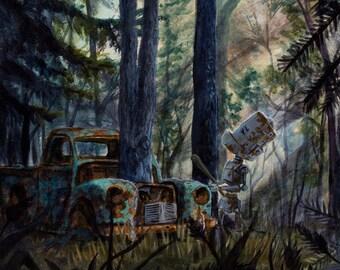 Tree-Truck Bot robot painting Print