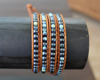 Leather 3-Wrap Bracelet, Turquoise-Blue stone