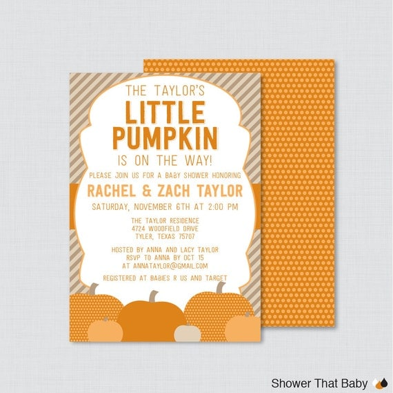 pumpkin baby shower invites for fall baby shower orange brown 0035