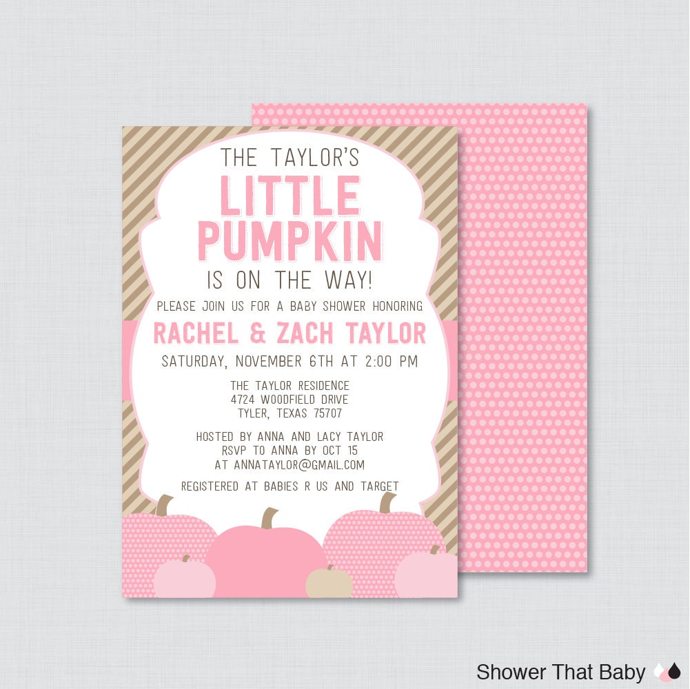 little pumpkin baby shower invitation printable or printed