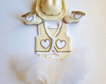 Baby Girl, Crochet, Handmade, Yellow and White Cowgirl Vest, Diaper Cover with Attached Tutu, Cowgirl Hat, and Boots; SPECIAL ORDER ONLY