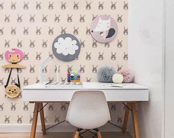 PEEL and STICK wall covering - Nerdy Bunny pattern wallpaper - OLB_006