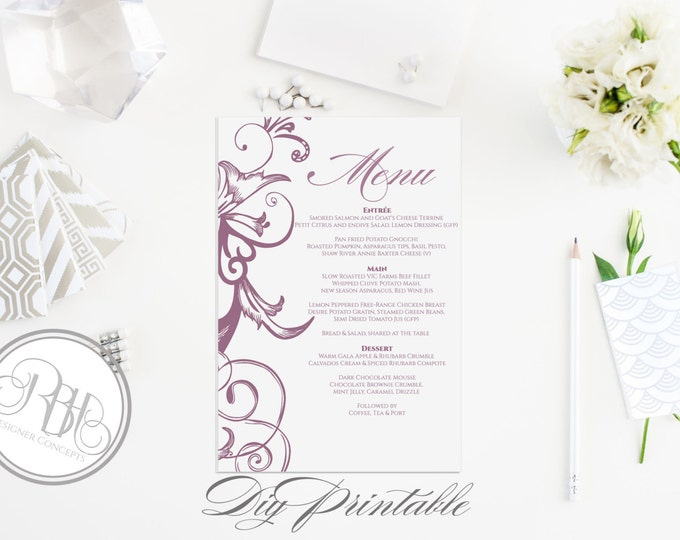 "Plum Purple Menu Wedding Template - INSTANT DOWNLOAD- Elegant Plum Purple Floral Swirl Design - ""Helen"""