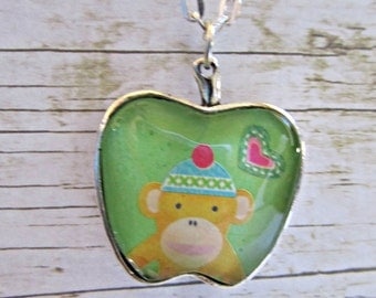 Yellow Sock Monkey Pendant Necklace, Glass Pendant, Sock Monkey Necklace, Girls Accessory, Sock Monkey Jewelry, Birthday Gifts Girls, Monkey