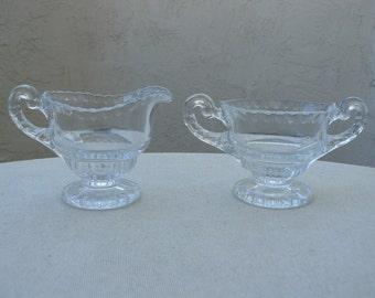 Cambridge Gadroon Creamer Sugar Set - Elegant Glass