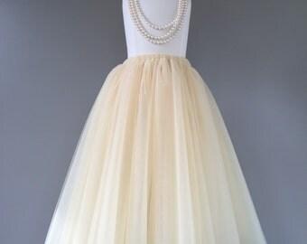 Flower girl tutu, champagne tulle skirt, champagne tutu, long tulle skirt ANY COLOR
