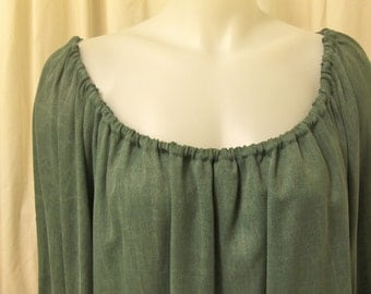 Jade Green Sandwashed Rayon, Long Sleeve, Pirate Peasant Blouse, Size S/M