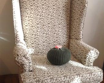 Knit Cactus Pillow--Dark Green