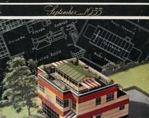 1930s Midcentury Modern House Design - 1935 American Home Magazine Cover - Bernard J McGarry Architect - Retro Art to Frame