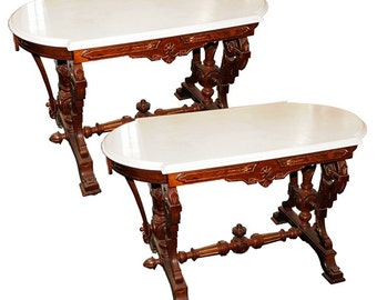 2627 Pair of Antique Victorian Marble Top Accent Tables