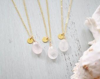 Tiny Crystal Quartz Necklace - Small Crystal Quartz Faceted Teardrop Necklace - Natural Rock Quartz Necklace - April Birthstone Necklace