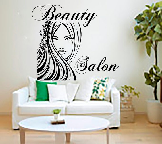Beauty salon wall stickers decal hairdressing salon by - Stickers salon design ...