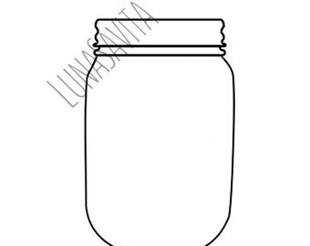 Basic Mason Jar SVG and DXF Files for Cricut Design Space, Silhouette Studio, Die Cut Machines, Instant Download of svg, dxf, & jpg