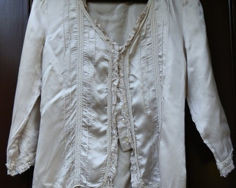 Vintage 1990's NEXT Satin and Lace Blouse / Lightweight Jacket with Three-Quarter Sleeves UK Size 8 / US Size 4
