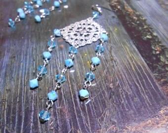 Blue drops - Dangle chain earrings  - Boho Earrings - Gipsy Earrings - Long Chandelier Earrings - Turquoise and Silver